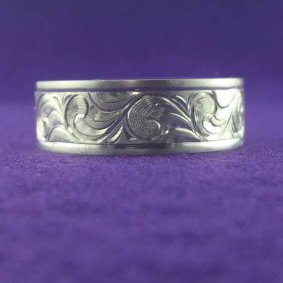 unique wedding band engraved sterling silver wedding