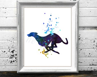 Greyhound 3 watercolor style PRINT, Running Grey hound painting, Dog Breed, Gray Hound silhouette, Hound poster watercolour wall art, racing