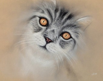 "Original Pastel Drawing ""Amber Eyes"""