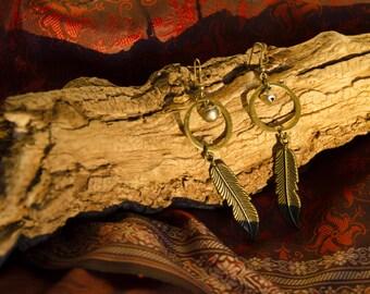 Tribal feather brass earrings #1