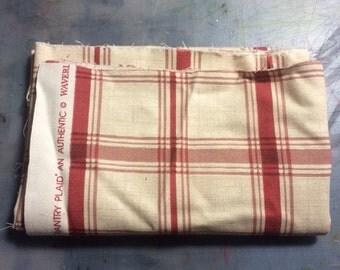 Red & Tan Plaid Cotton Fabric
