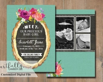 Girl Birth Announcement | DIY Printable | Watercolor Flowers | Personalized Photo Card