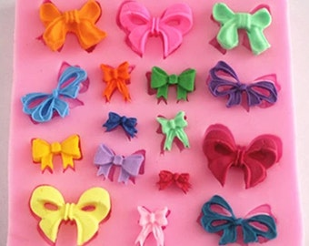 M037 bows, silicone mold, fondant mold, cake decoration mold, chocolate mold, lace mold,