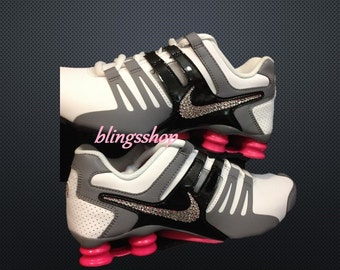 online store f866b 9e5da Blinged Nike Womens NIKE Shox Current Shoes Customized With Swarovski  Crystal Rhinestones Bling NikBlack ...