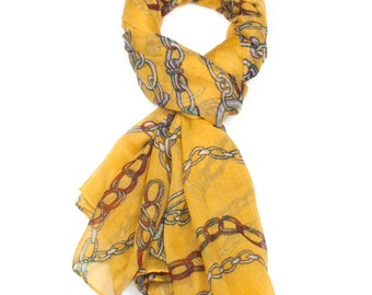 Mustard Gold Chain Print Scarf