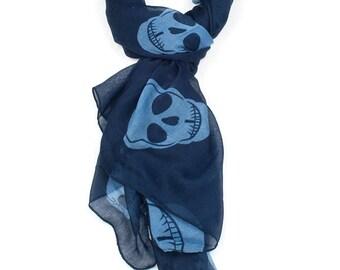 Blue Oversized Skull Print Scarf