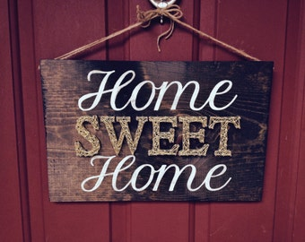 String Art Sign - Home Sweet Home - Nail and String Art - Modern Wood Sign