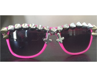 Hot Pink OOAK Cross Spiked Sunglasses