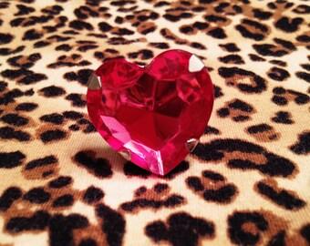 Girly Pink Heart Gem Adjustable Ring