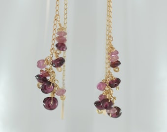 Gold and Gemstone threader earrings, delicate gemstone earrings, delicate drop earrings, tourmaline earrings, pink dangle earrings, gold