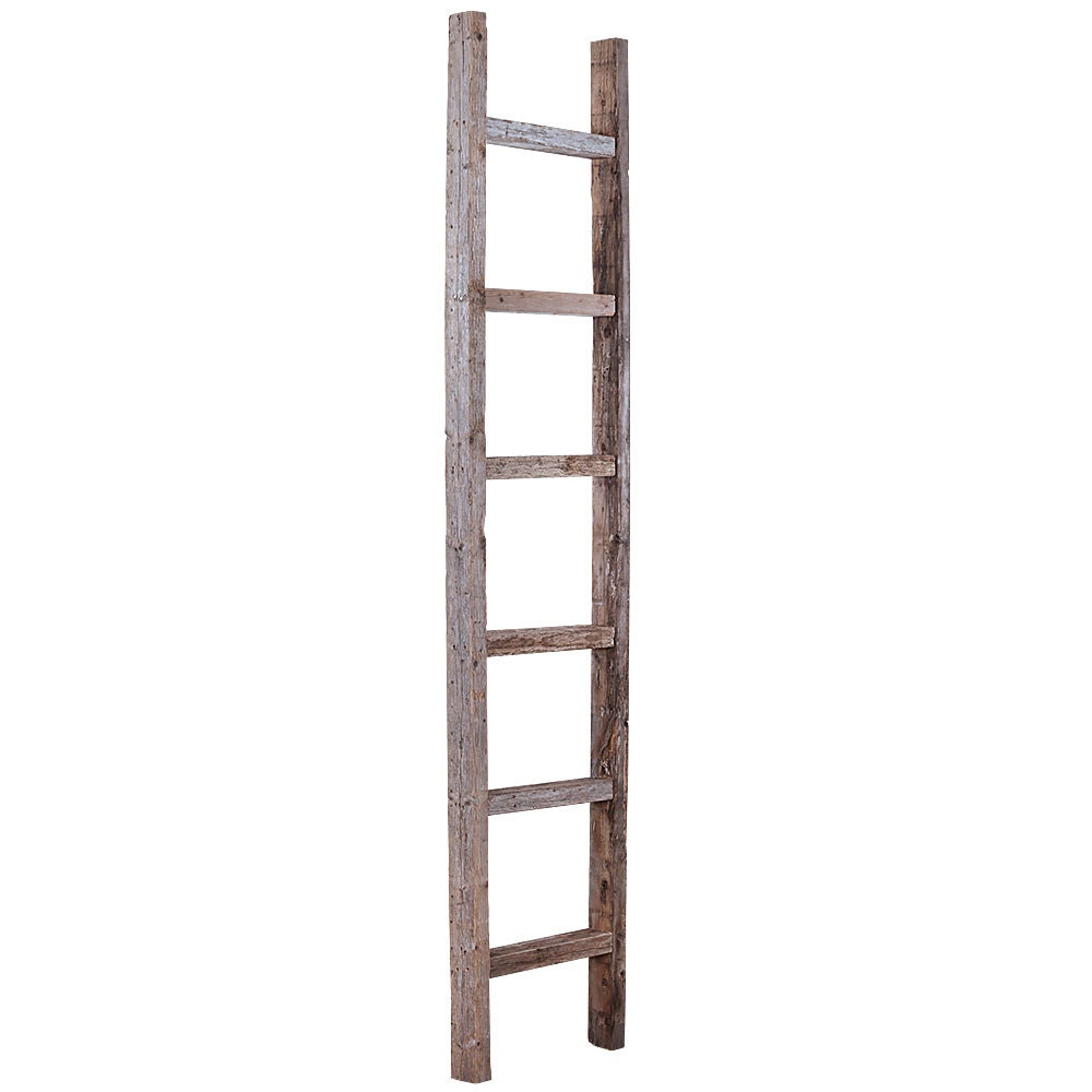 Barnwood rustic decorative 6 ft ladder weathered gray for Decor ladder