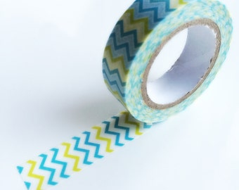 Blue and yellow zigzag stripe washi tape