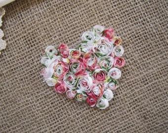 Vintage Chiffon Rosette Heart Applique 10cm x 9cm