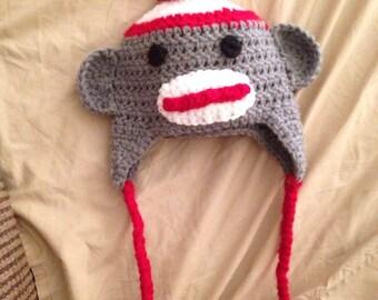 Crochet Sock Monkey Hat with Braids