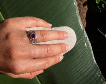 Ring, Amethyst Cabochon, 6mm stone, sterling sliver ring with 16 g wire and sterling silver bezel