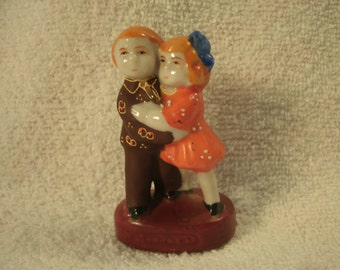Hand Painted Porcelain Couple Figurine Raised Relief Vintage Small
