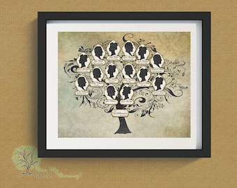 Personalized Family Tree of Married Couple - 3 Generation with Silhouettes - Print