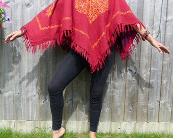 Nepali wool mix embroided poncho