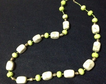 Lime Green Turquoise and White Howlite
