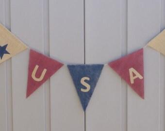 USA Banner, American Flag Banner, Patriotic Banner, Patriotic Bunting, 4th of July Banner, Patriotic Decor, Primitive Burlap Bunting Garland