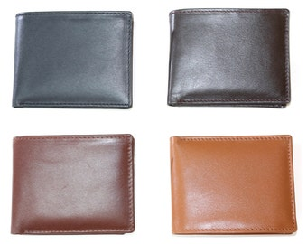 Leather Bifold Wallet with Zipper pocket