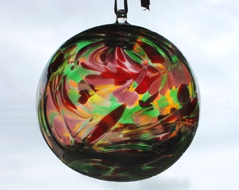 Hand blown Glass Friendship /Kugel / Witches Ball 10cm - Multi Coloured