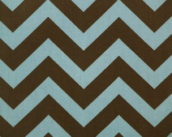 Premier Prints ZigZag Chevron in Village Blue Natural Brown Home Decor fabric, 1 yard 7 oz Cotton