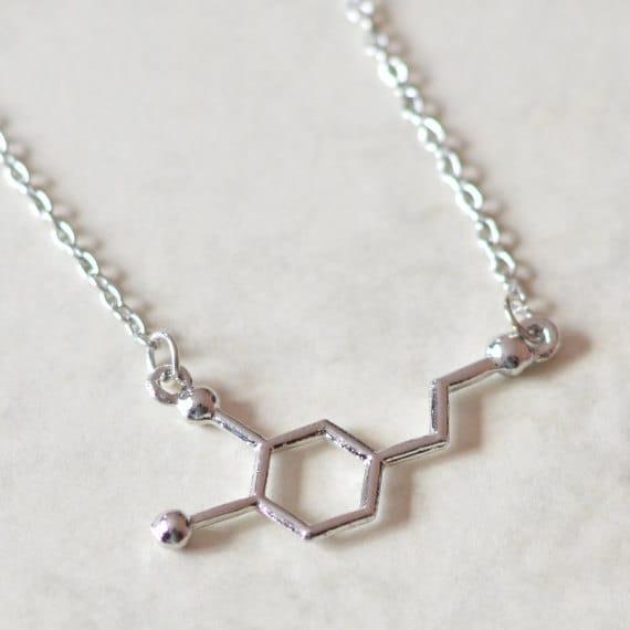 Dopamine Molecule Necklace: Molecule Science Dopamine Necklace By CosmicStarCharms On Etsy