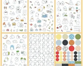 Kawaii Molang v1 Stickers, Molang v1 deco stickers, cute kawaii sticker, cute korean sticker, molang v1 sticker