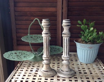 Rustic Decor Candlesticks Pair Neutral Decorative Accents Neutrals Shabby Decor