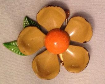 Metal Enamel Flower Brooch