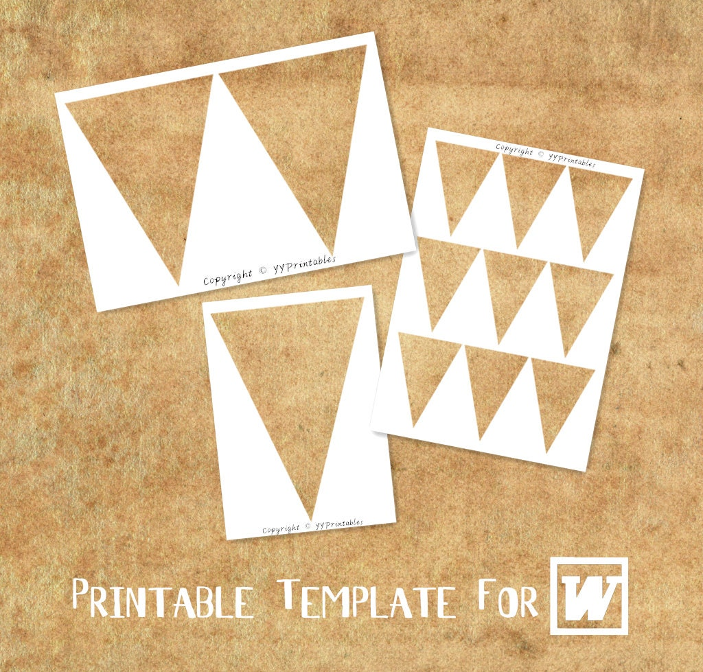 microsoft word compatible printable template triangle bunting