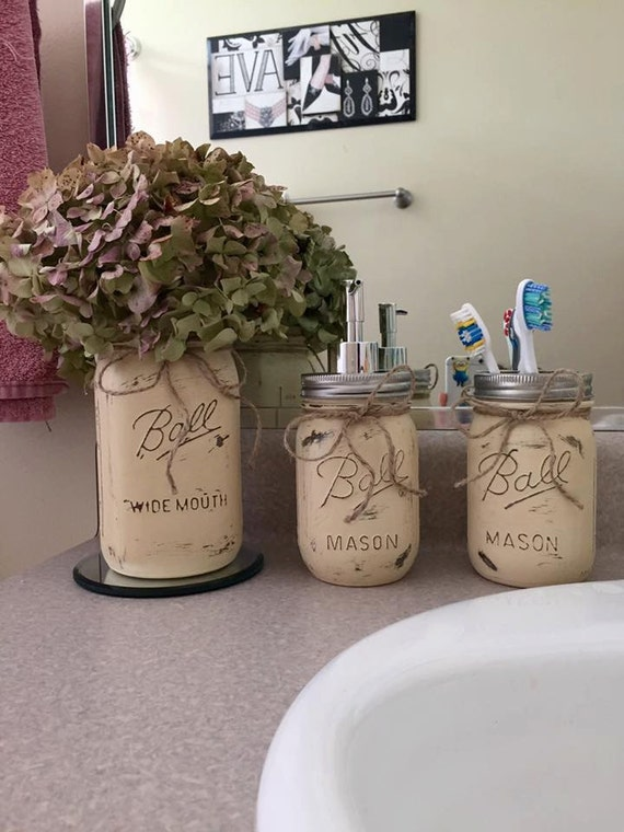 Mason jar bathroom set bathroom decor by sevsmasonjarboutique for Bathroom decor mason jars
