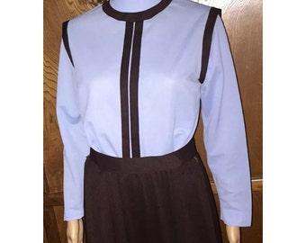 Vintage Double Knit 1960's Blue & Brown Darted Bust Zip Back Dress sz 8 / 10