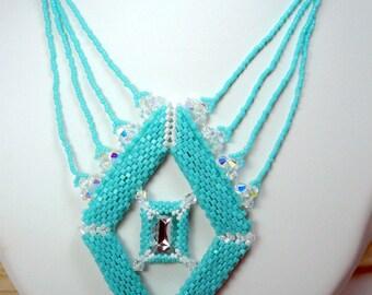 Necklace turquoise rocaille Miyuki Swarovski Crystal hand-woven