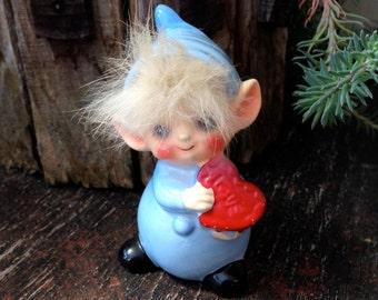 Josef Originals Ceramic Blue Elf With Heart