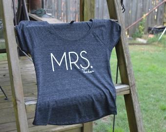 MRS. (last name) | dark grey, short sleeve t-shirt