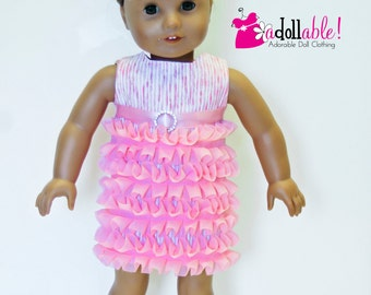 American made Girl Doll Clothes, 18 inch Girl Doll Clothing, Medium Pink Ruffled Dress made to fit like American girl doll clothes
