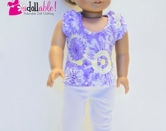 American made Girl Doll Clothes, 18 inch Girl Doll Clothing, Purple Tie-dye Top, White Capris made to fit like American girl doll clothes