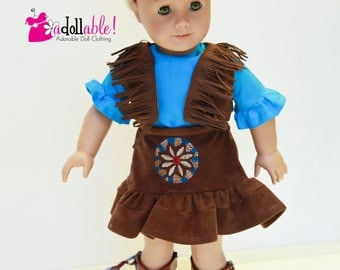 American made Girl Doll Clothes, 18 inch Girl Doll Clothing, 4 piece Cowgirl Outfit made to fit like American girl doll clothes