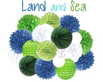 Blue and Green Party Decorations - Deluxe Accordion Lantern & Tissue Pom Kit -Lime Green, Royal Blue, Nautical - LAND AND SEA Party Theme