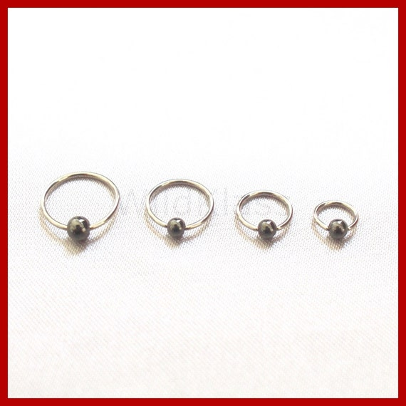 captive bead ring 18g surgical steel black lip by