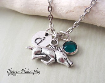 Wild Boar Necklace - Monogram Personalized Initial and Birthstone - Silver Boar Pendant