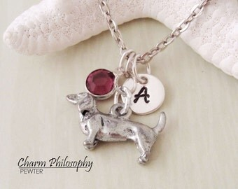 Dachshund Necklace - 3D Reversible Wiener Dog Charm Necklace - Personalized Initial and Birthstone - Antique Silver Pewter Jewelry