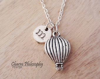 Hot Air Balloon Necklace - Silver Hot Air Balloon Charm Pendant - Personalized Monogram Initial Necklace