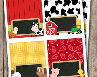 Farm Animals Chalkboard Food Tent Place Cards INSTANT DOWNLOAD Editable