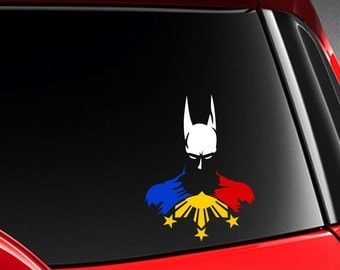 "Filipino Vinyl Car Decal Sticker 6"" (H) w/ Hero Batman and Philippine Flag"