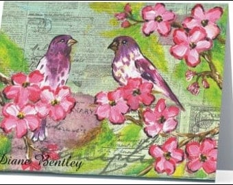 Finches and Flowers in a Tree