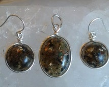 Golden Orgonite Prosperity/Abundance Earrings and Oval Pendant (SM)