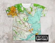 Houston Texas Vintage Map Shirt, Gulf Coast, Galveston, Lone Star State Gift Idea, Unique T Shirt Texas City Pasadena Jacinto City Lamarque